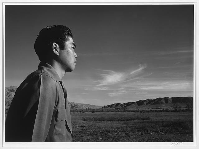 Tom Kobayashi, landscape, south fields, Manzanar Relocation Center / photograph by Ansel Adams.