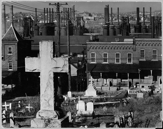 Bethlehem graveyard and steel mill. Pennsylvania / Photograph by Walker Evans