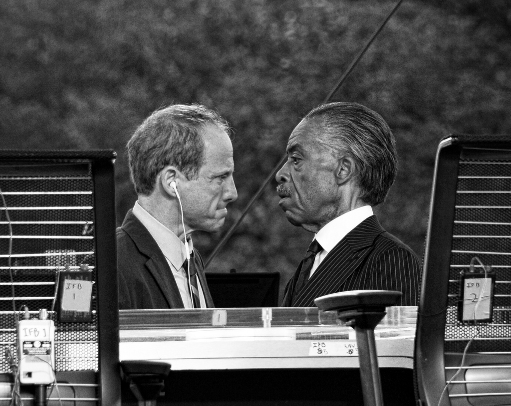 """""""Rev. Al and producer face off."""" by Bill Coyle"""