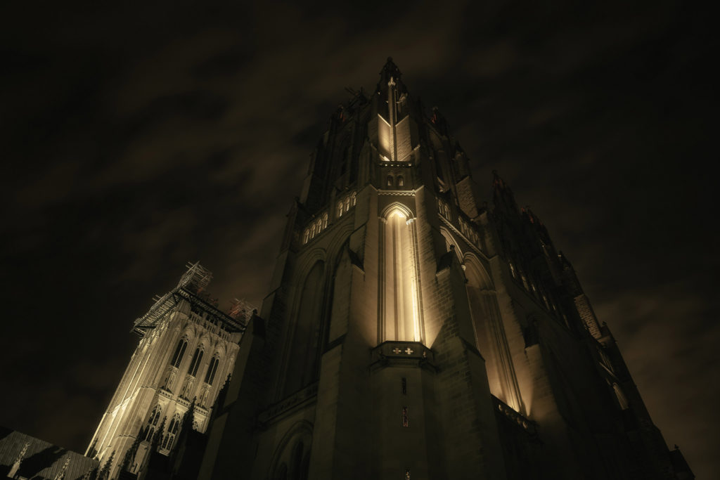 Night Time at the Washington National Cathedral by John J Young
