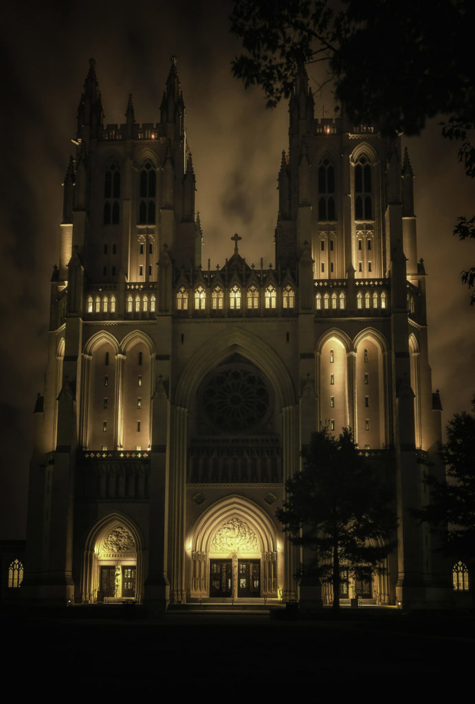 Night Time at the Washington National Cathedral 2 by John J Young